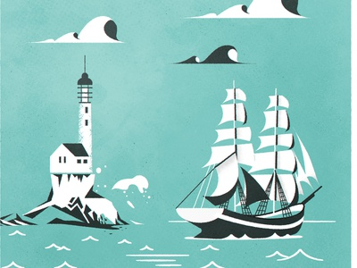 A lil' Clipper coast sea lighthouse clipper ship design illustrator minimalist texture illustration vector boat