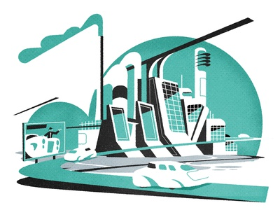 Car factory editorial retro cityscape architecture city illustrator texture minimalist illustration vector