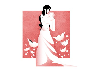 Mother's Day editorial character illustrator minimalist texture illustration vector