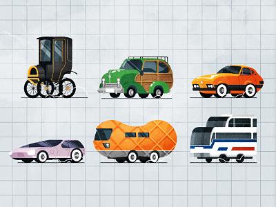 Weird Wheels retro automobiles industrial automobile design car minimalist texture illustration vector