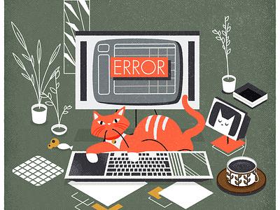 KITTY, NO! editorial cat illustrator minimalist texture illustration vector