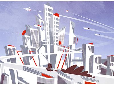 Going to town design architecture city illustrator minimalist texture illustration vector