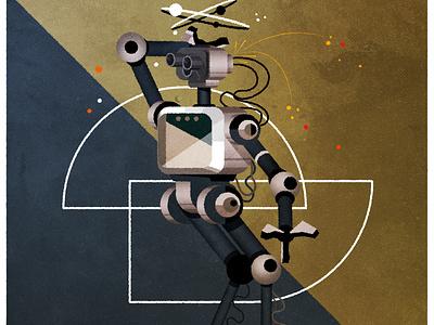 Broken Robots design illustrator minimalist texture illustration vector