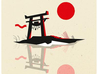 Torii minimalist design logo illustrator texture illustration vector