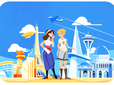 France v. US france french american art nouveau art deco women girls cute national personifications worlds fair