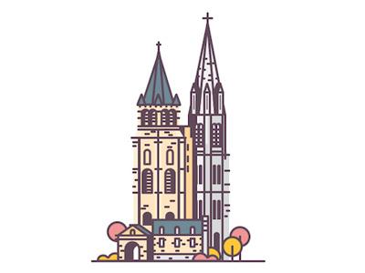 Saint-Germain-des-Prés & Cathédrale Américaine minimalist flat design france church towers paris building cathédrale américaine saint germain