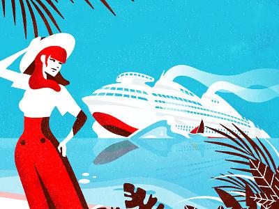 Atomic Boat colour minimalist affiche post drawing vector illustration art deco futurama geddes