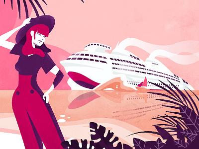 Atomic Boat - recolour vector post minimalist illustration geddes futurama drawing colour deco art affiche