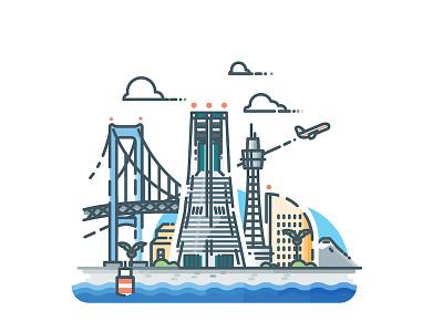 Yokohama vector urban yokohama sticker skyline minimalist metropolis japan illustrator illustration cityscape city