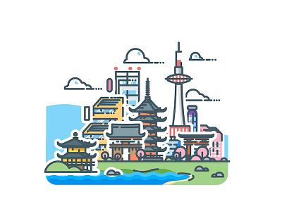 Kyoto! vector urban kyoto sticker skyline minimalist metropolis japan illustrator illustration cityscape city