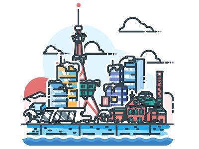Sapporo! sapporo vector urban sticker skyline minimalist metropolis japan illustrator illustration cityscape city
