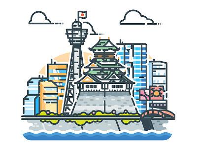 Osaka! vector urban sticker skyline osaka minimalist metropolis japan illustrator illustration cityscape city
