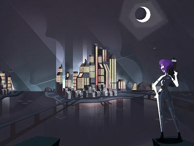 Cyberpunk City vector urban skyline metropolis illustration cityscape city