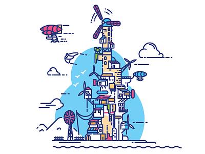 Vertical Windpunk icon outline minimalist strokes train boat windpunk houses stacked vector