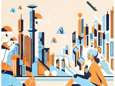 City Poster vector colour poster retrofuturism retro futurism googie