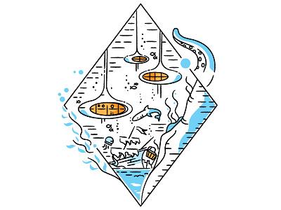 Underwater Googie vector icon outline stroke retrofuturism retro futurism water under ocean googie