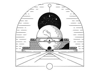 Boullée, Cénotaphe à Newton (1784) icon stamp vector imaginary architecture classic