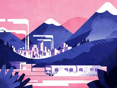 Passing train design flat mountains cityscape landscape vector train