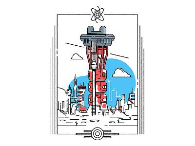 Fallout 4 - Mass Fusion apocalypse city architecture sticker icon stroke outline fallout art direction pc game retrofuturism