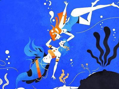 Underwater love mermaid mermay brush texture vector illustrator illustration character