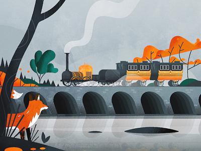 Disturbing the peace fox tree locomotive train landscape nature england illustrator vector illustration