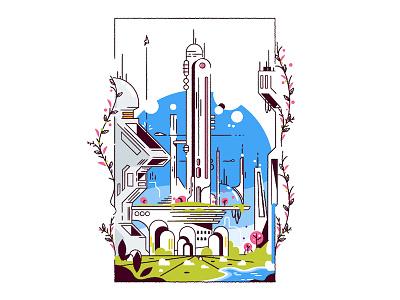 Green Future colour minimalist outline sciencefiction cityscape city vector
