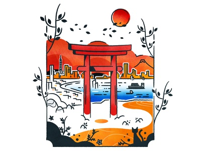 Between the profane and the sacred minimalist illustrator illustration logo stamp icon architecture cityscape city vector shinto torii nippon japan
