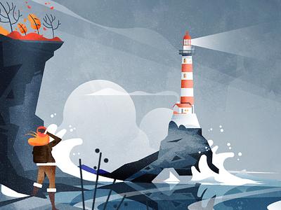 Stormy Lighthouse design illustrator illustration architecture texture adventure woman tempest storm lighthouse nature minimalist vector