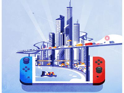 Cities Skylines on Switch design illustrator urban cityscape texture skyline minimalist architecture city illustration vector