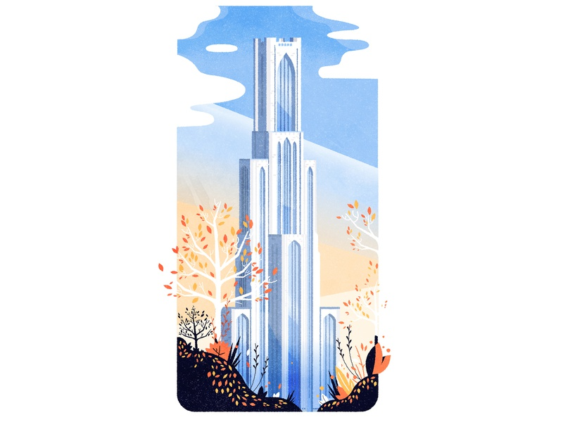 The Cathedral of Learning minimalist cityscape texture skyline design pittsburgh gothic architecture illustration city vector