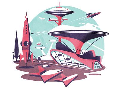 Googie Spaceport illustrator illustration futurism retro googie spaceport airport architecture