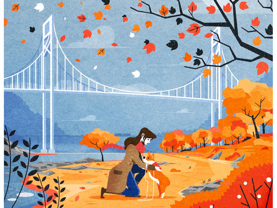 Autumn Walkies bridge nature fall autumn flat corgi dog design illustrator architecture illustration vector