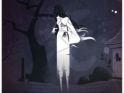Spooky Yurei! texture japan ghost spooky scary halloween illustration vector