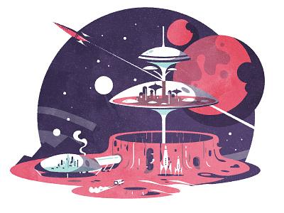 Crater City sciencefiction planet illustrator skyline texture minimalist architecture city illustration vector