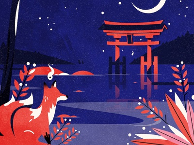 Kitsune shrine shinto torii japan fox design texture minimalist illustration vector