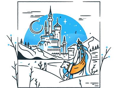 SnowQueen line art icon outline stroke illustrator skyline architecture illustration vector