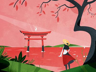 Torii, Torii, Torii! tree plants plant nature torii shinto japan minimalist texture design illustration vector