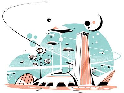 A googie cityscape googie skyline retro futurism cityscape illustrator minimalist architecture city illustration vector