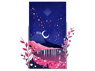Sakura japan sakura illustrator city texture illustration vector