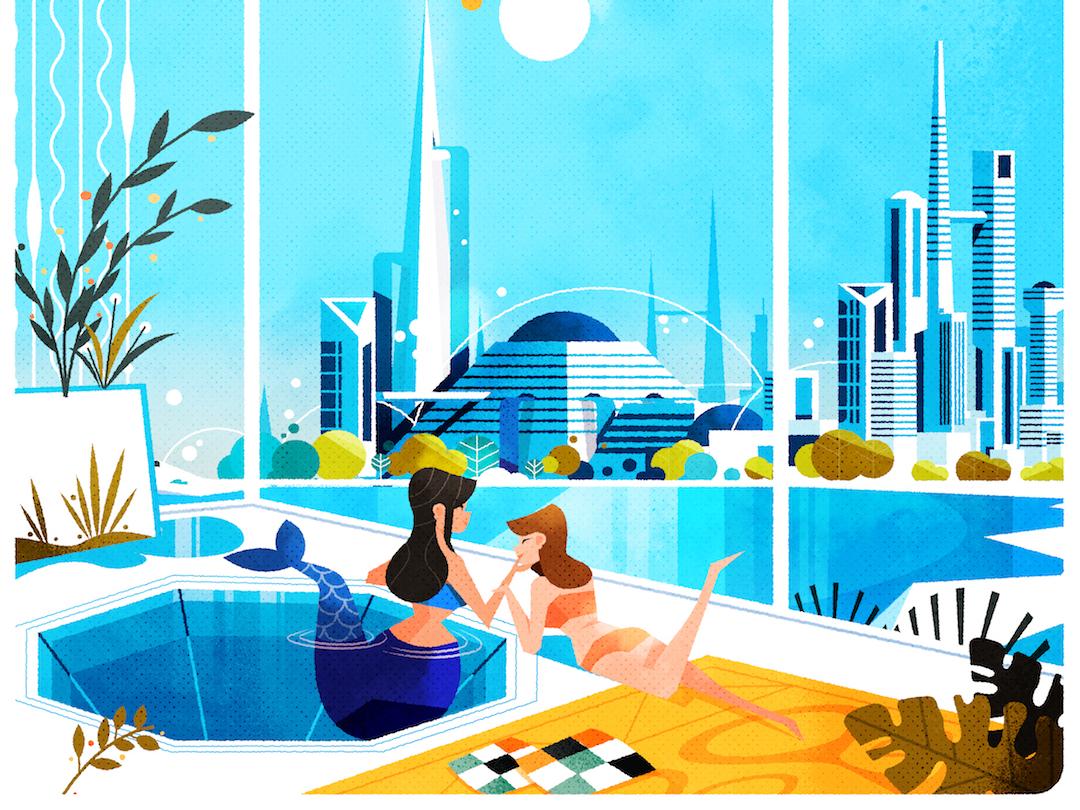 Happy Mermay! mermay design minimalist architecture texture futurism skyline illustrator city illustration vector