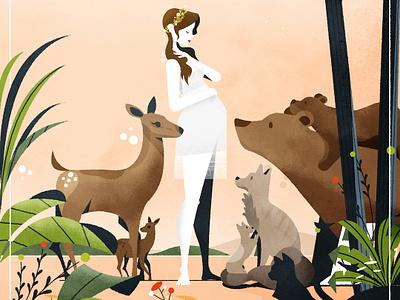 Motherhood illustrator texture dear wolf animals bear mothersday mother illustration vector