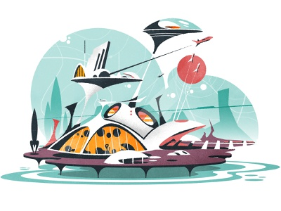 Transport hub futurism design skyline illustrator minimalist texture city illustration vector