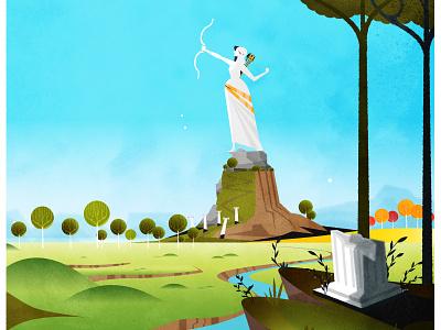 Artemis mythology statue texture skyline illustrator minimalist vector illustration