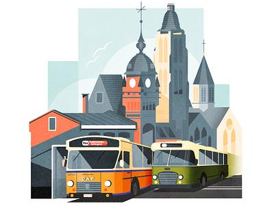 Public Transport bus transport poster art deco architecture minimalist texture city illustration vector