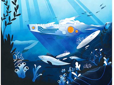 Art Deco Nautilus ocean fish submarine science fiction design illustrator texture illustration vector