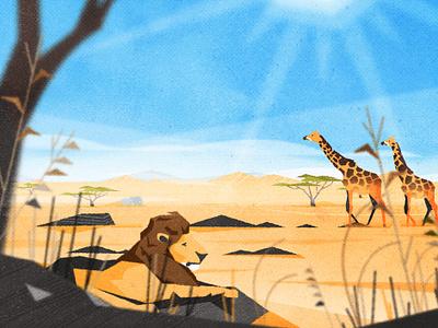 Serengeti african animals brush design savana africa nautre texture illustration vector