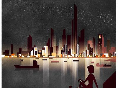 Night City skyline cityscape architecture illustrator minimalist city texture illustration vector