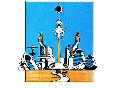 Ligne Claire retro cityscape skyline illustrator architecture minimalist texture city illustration vector