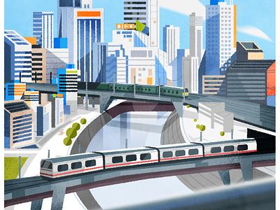 Tokyo trains illustrator skyline cityscape architecture colours trains minimalist texture city illustration vector