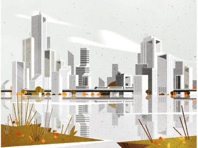 A nostalgic little city. illustrator design architecture minimalist texture city illustration vector